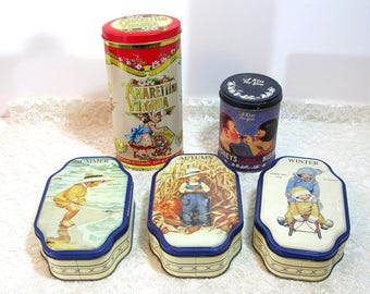 Vintage Advertising Tin Box Collection, Instant Collection, Kitchen Decor, Set Of Five
