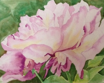 Peony Watercolor Painting - Pink Flower Watercolor Painting - Botanical Painting - Floral Painting - Pink Peony Home Decor