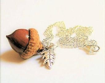 Acorn Necklace, Lucky Charm, Kiss Necklace, Acorn Charm, Good luck Necklace, Pagan Necklace, Wiccan Necklace, Druid Necklace, Acorn Jewelry