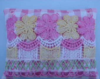 Lavender Sachet  Pink With Vintage Lace