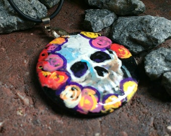 Skull and Roses C  hand painted Pendant Dark Onyx Necklace Day Of The Dead Dia de los Muertos Mexican Art
