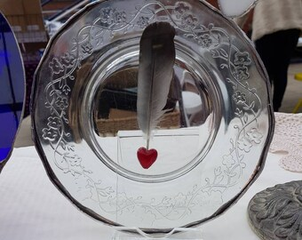 Feather Light Red Heart Glass Sculpture