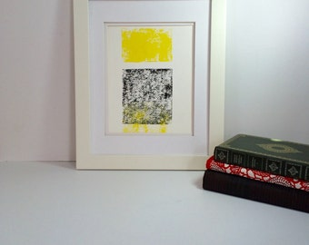 Yellow and Black Minimal statement art abstract linocut art 9x12 limited edition