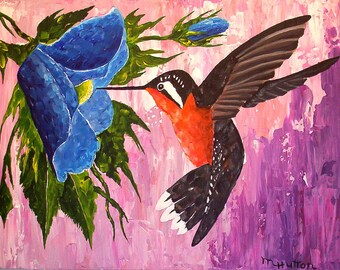 """Hummingbird Painting,"""" Caught in the Act"""", Palette knife painting, Home Decor, Gifts, Modern, Contemporary, Wall art"""