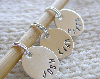 "Personalized Knitting / Crochet Stitch Markers - Hand Stamped Sterling Silver - 1/2"" Disc Markers - Gift Set of 3 Removable Markers"