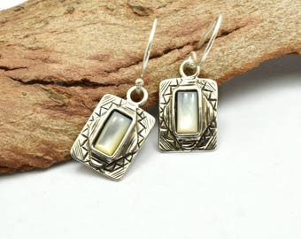 Mother of pearl earrings sterling silver dangle earrings retro vintage style geometric rectangle gift for her white stone earrings mop