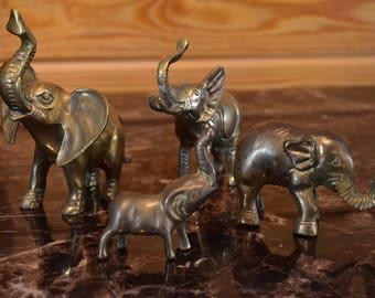 Vintage Brass Elephant Lot