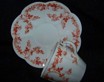 Foley China Pink Red Roses and Leaves RD468736 Coffee Tea Cup and Saucer 1003Y England