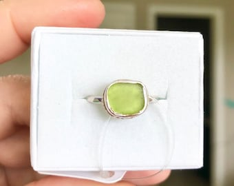 Lime Sea Glass Ring - Sterling Silver - Genuine Sea Glass - Size 6.5
