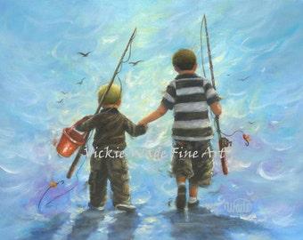 Two Little Boys Art Print, two brothers wall art, two boys going fishing, boys room, blond boy brunette boy, blue wall art, Vickie Wade Art
