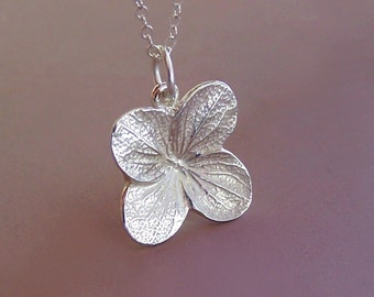 Hydrangea Flower Necklace in Sterling Silver, Last Minute Gift, Free Shipping, Gardening Gift