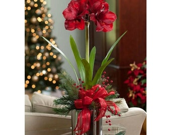 Winter Floral Arrangements Centerpieces - Artificial Red Amaryllis
