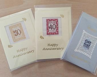 Cross stitch anniversary cards