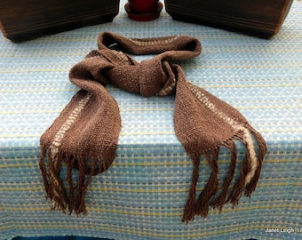 Brown Cotton/Linen Hand Woven Scarf