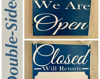 We Are Open/Closed with Business Hours 10x8 (Choose Color) Salon Spa Store Office Room Custom Rustic Shabby Chic Handmade Wood Door Sign