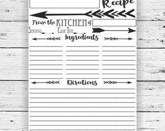 Recipe Page Editable PDF Printable, Instant Download, Digital Download, Fillable Form