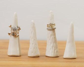 Handmade White Ceramic Ring Cones ~ Wedding Ring Holder Ring Tree Ring Display ~ White Pottery Ring Cone Jewellery Display Jewellery Storage