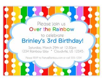 Rainbow Invitation - Rainbow Colors Stripes, Polka Dots, Red Green Blue Rainbow Personalized Birthday Party Invite - Digital Printable File