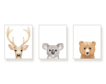 Woodland Animal Prints Forest Animal Prints Woodland Nursery Art Gender Neutral Nursery Decor AnimalPrint Bear Deer Koala Set of 3 Prints