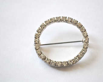 Crystal Brooch, Rhinestone Brooch, 1950s Pin, Silver Brooch, Crystal Pin, Vintage Brooch, Vintage Pin