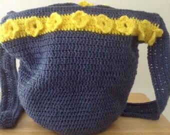Blue Floral Bucket Crochet Bag