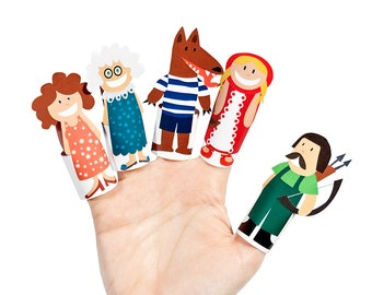 Little Red Riding Hood Paper Finger Puppets - PRINTABLE PDF Toy - DIY Craft Kit Paper Toy - Birthday Party Favor