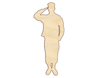 Army Soldier Saluting - Military - Salute - Unfinished Wood - 160546
