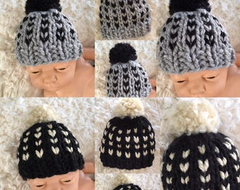 Black Friday SALE! Newborn size chunky knit fair isle style pompom hat,beanie,ready to ship,twins,boy,coming home,gift,photo prop