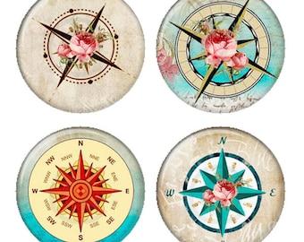 Floral Rose Shabby Rose compas aimants ou macarons ou Flatback médaillons