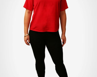 Vintage Red Top with Satiny-Feel  size S