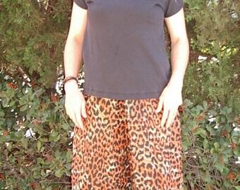 Reduced HOT Leopard Print Cotton Lawn New Palazzo Pants SZ: Med. Item # 657 Resort/Summer Apparel