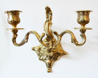 Vintage Brass Candle Wall Sconce, Wall Double Candelabra, Rococo Hollywood Regency Wall Decor
