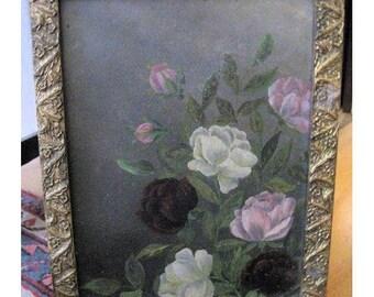 Antique Painting Roses Folk Art