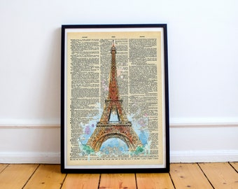 Eiffel Tower Post Card Print Dictionary Page Original - Unique gift book page art -