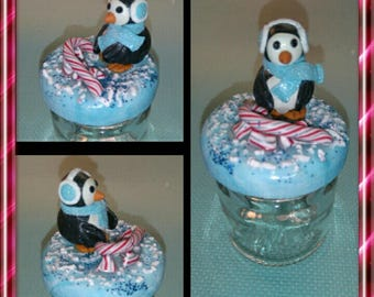 Fancy Christmas polymer clay Penguin pot