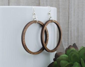 Wood Earrings - Wooden Hoop Walnut Earrings - Large