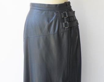 Vintage Leather Skirt / Gray Midi Skirt / Size M