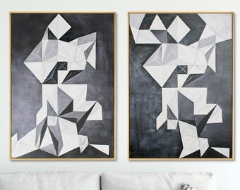 Set of 2  Modern Black and White Geometry Painting  Wall Art Print  Nordic Painting Wall Pictures  Poster for Living Room