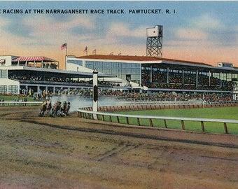 Narragansett Race Track Pawtucket Rhode Island Horse Racing Vintage Postcard (unused)