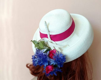 """1950s 60s White Bucket Hat with Flowers """"Exclusive Doree""""  Very Nice Quality"""