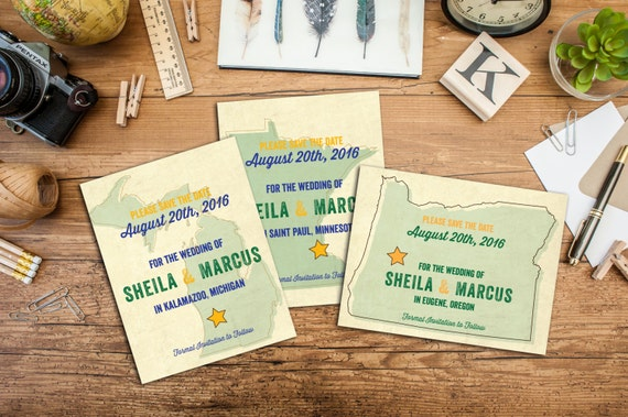 Vintage State Save the Date, Engagement Announcement, Wedding Announcement, Save the Date, State Vintage Postcard Style, Digital Letterpress