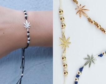 Cannabis cord bracelet - adjustable marijuana bracelet - knotted bracelet - pot bracelet - leaf bracelet- weed bracelet -
