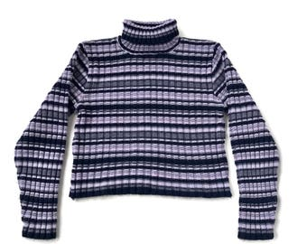 90's Chunky Ribbed Striped Turtleneck Sweater Top