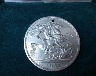 Large vintage holed 5 shilling coin 1951