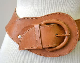 1970s NOS Brown Guatemalan Leather  Belt