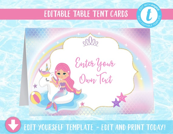 Unicorn Mermaid Pool Party Tent Cards, Food Labels, Buffet Cards, Mermaid Food Labels, Pool Party