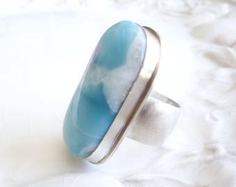 Larimar Ring - Sterling Silver Size 6 - For Hurricane Relief