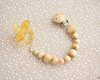 Pacifier Clip with Juniper Wood Beads - Dummy Clip, Paci Holder, New Baby Gift, Teething Clip - PC14