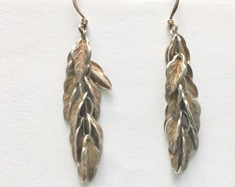 vintage long sterling leaf earrings