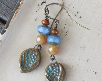 Ceramic Leaf Earrings, boho earrings, bohemian earrings, woodland earrings, boho jewelry, woodland jewelry, bohemian jewelry